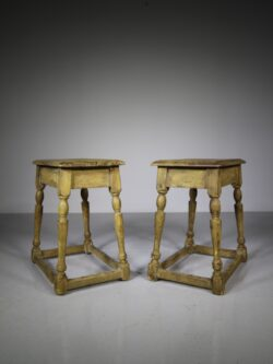 Pair of 19th Century Antique Painted Pine Joint Stools
