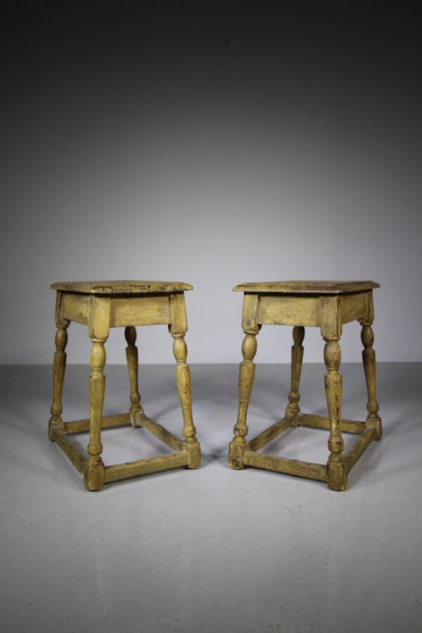 Pair of 19th Century Antique Painted Pine Joint Stools | Miles Griffiths Antiques