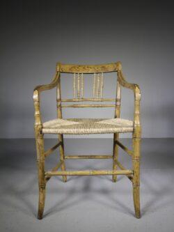 English Regency Antique Original Painted Armchair