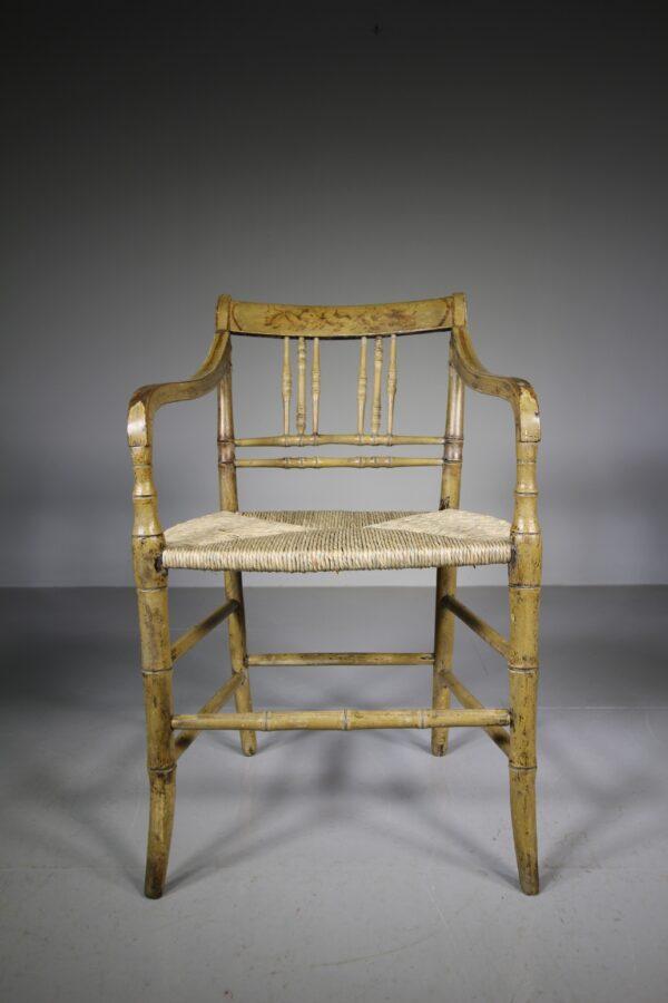 English Regency Antique Original Painted Armchair | Miles Griffiths Antiques