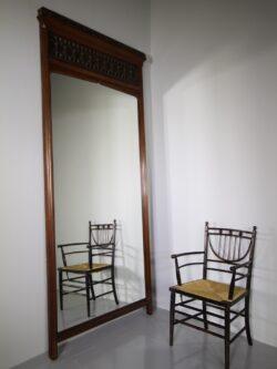 Tall English 19th Century Antique Gothic Panel Mirror