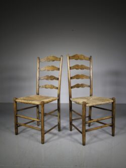 Pair of Antique Pass High Back Chairs by Neville Neal