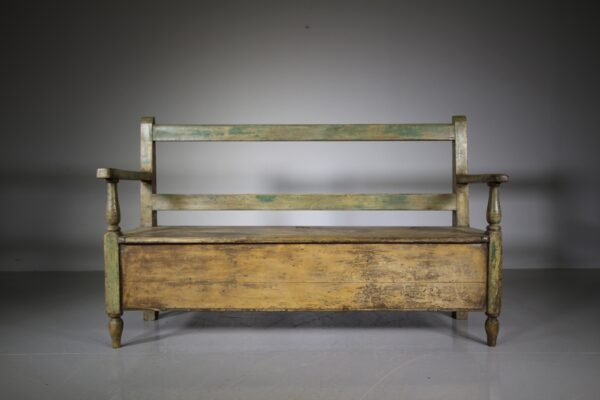 Early 19th Century Antique Original Painted Pine Box Seat Settle   Miles Griffiths Antiques