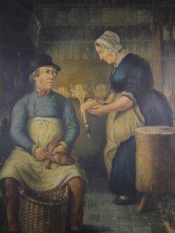 Original 19th Century Antique Butchers Shop Painting