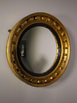 English 19th Century Antique Gilt Convex Mirror