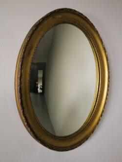 Unusual Edwardian Antique Oval Convex Mirror