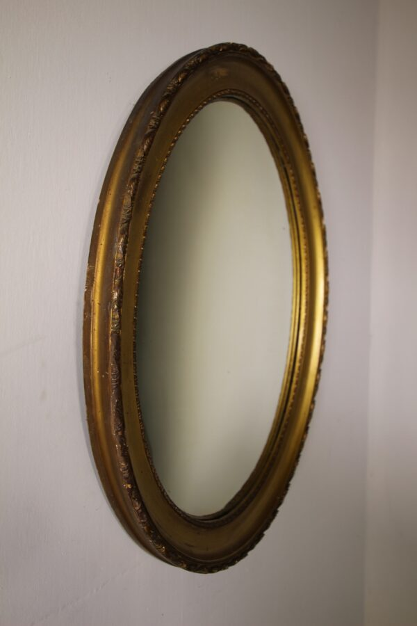 Unusual Edwardian Antique Oval Convex Mirror   Miles Griffiths Antiques