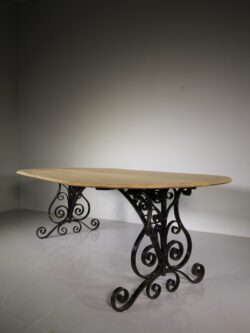 Large 19th Century English Antique Oak & Iron Dining / Centre Table