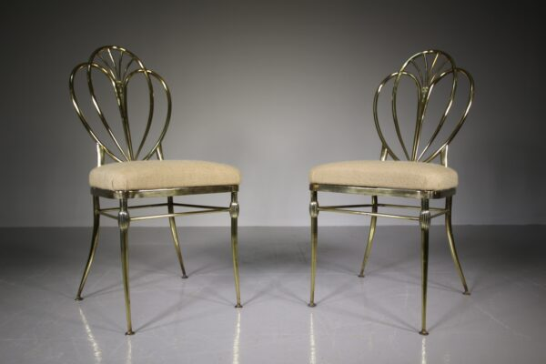 High Quality Pair of 1920's Brass Side Chairs | Miles Griffiths Antiques