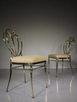 High Quality Pair of 1920's Brass Side Chairs