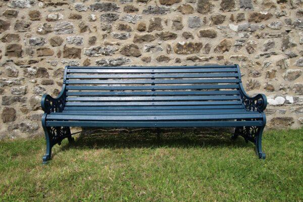 Edwardian Antique Iron & Teak Garden Bench Seat   Miles Griffiths Antiques