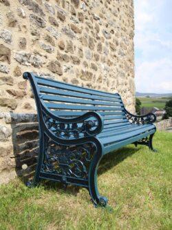 Edwardian Antique Iron & Teak Garden Bench Seat