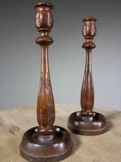 Pair of English Oak Candlesticks – Dated 1930
