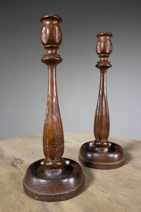 Pair of English Oak Candlesticks - Dated 1930   Miles Griffiths Antiques