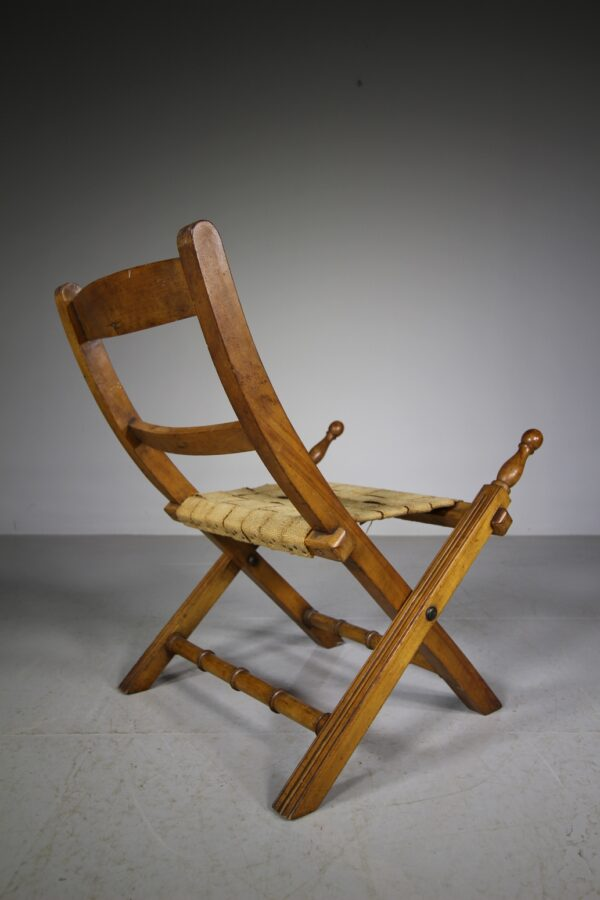 English 19th Century Antique Folding Campaign Chair   Miles Griffiths Antiques