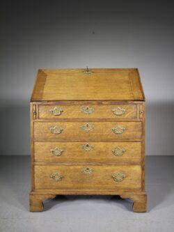 English Georgian Antique Oak Bureau