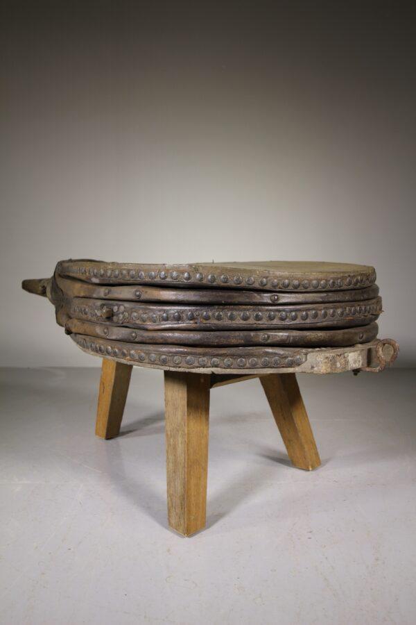 Massive Elm & Leather Antique Bellows Coffee Table   Miles Griffiths Antiques