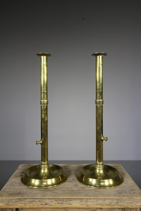 Large Pair of English Antique Brass Push Candlesticks | Miles Griffiths Antiques