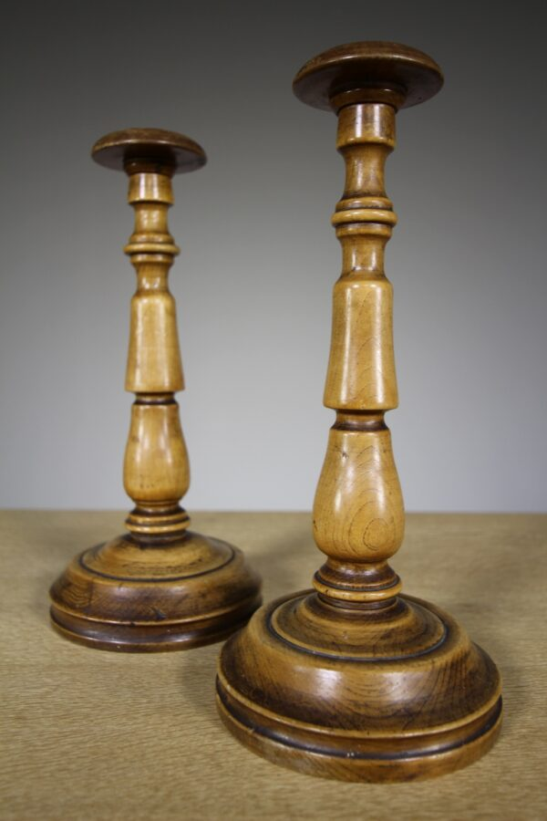 Pair of English Fruitwood Antique Hat / Wig Stands   Miles Griffiths Antiques