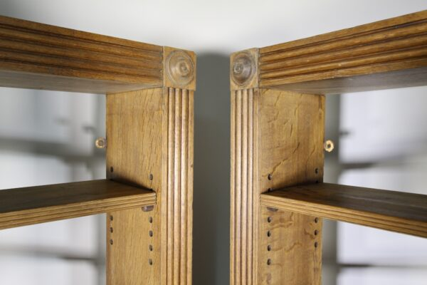 Pair of English 19th Century Antique Oak Open Bookcases   Miles Griffiths Antiques