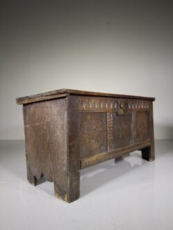 17th Century Antique Oak Coffer with Box Wood Stars