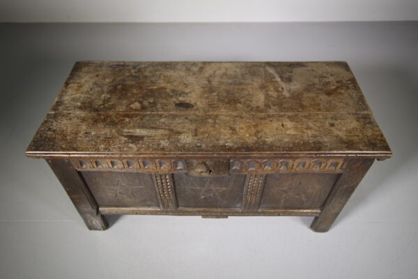 17th Century Antique Oak Coffer with Box Wood Stars | Miles Griffiths Antiques
