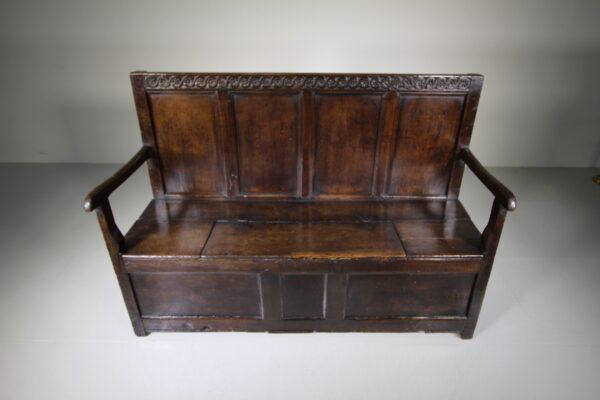 17th Century Englsh Period Oak Antique Box Seat Settle | Miles Griffiths Antiques