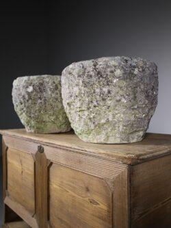 Pair of English Limestone Antique Urns