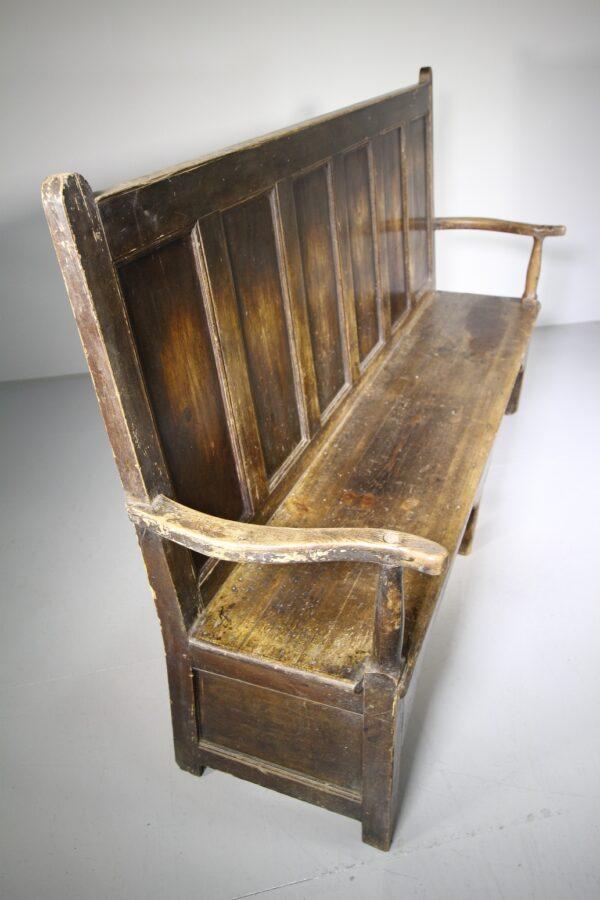 Georgian Antique Cumbrian Painted Pine Settle Seat | Miles Griffiths Antiques