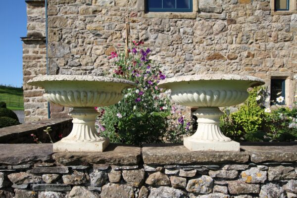 Wonderful Large Pair of English 19th Century Antique Iron Tazza Urns | Miles Griffiths Antiques
