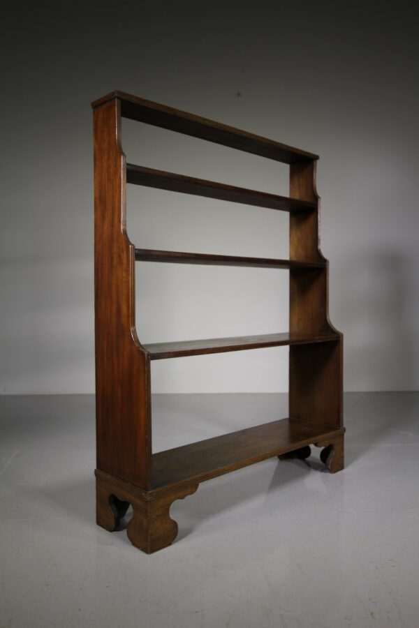 English 19th Century Antique Mahogany Waterfall Open Bookcase | Miles Griffiths Antiques
