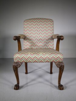 English Quality Antique Upholstered Open Armchair