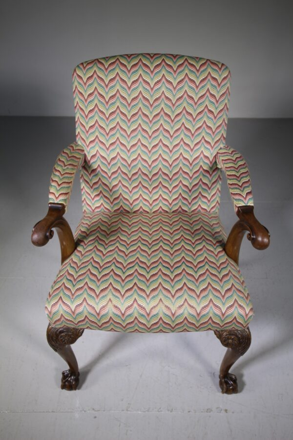 English Quality Antique Upholstered Open Armchair | Miles Griffiths Antiques