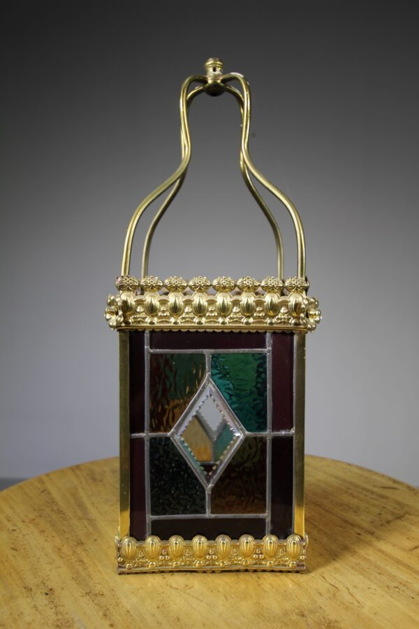 English 19th Century Antique Leaded Glass & Brass Lantern   Miles Griffiths Antiques