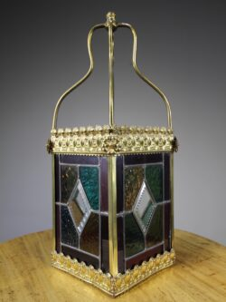 English 19th Century Antique Leaded Glass & Brass Lantern