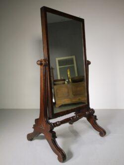 English Regency Antique Mahogany Cheval Dressing Mirror