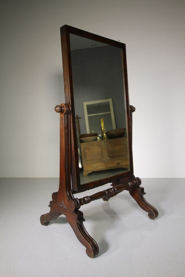 English Regency Antique Mahogany Cheval Dressing Mirror | Miles Griffiths Antiques