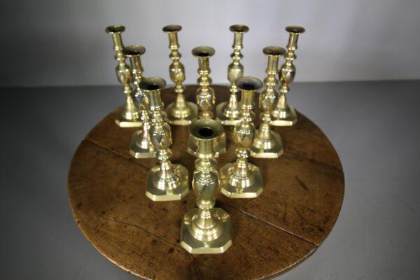 Ten 19th Century Antique Brass Queen of Diamonds Candlesticks | Miles Griffiths Antiques