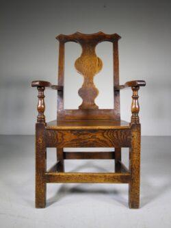 Large 18th Century Cumbrian Antique Oak Armchair