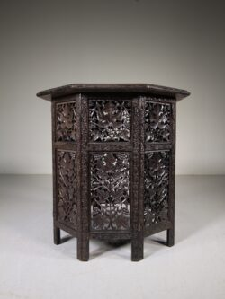 Anglo Indian Antique Carved Side Table with Interesting History