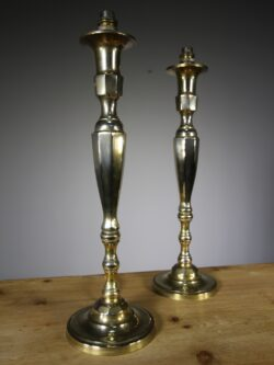 Tall Pair of Edwardian Antique Brass Table Lamps