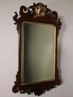 19th Century English Antique Mirror with Gilt Ho Ho Bird