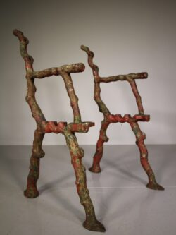 Pair of English Antique Rustic Pattern Garden Bench Ends