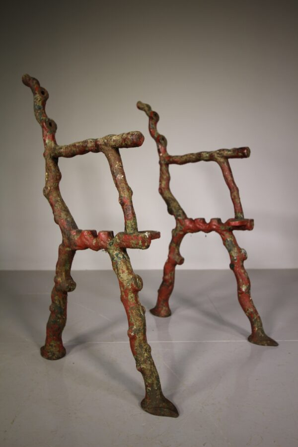 Pair of English Antique Rustic Pattern Garden Bench Ends | Miles Griffiths Antiques