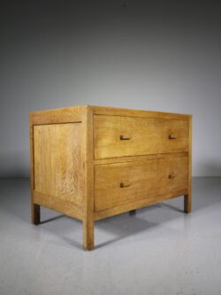 Heals of London 1920's Low Oak Chest of Drawers – Labelled