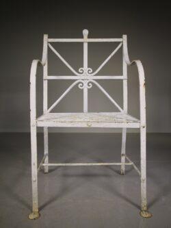 Edwardian Antique Wrought Iron Garden Armchair