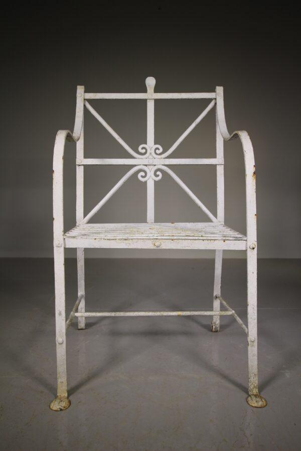 Edwardian Antique Wrought Iron Garden Armchair   Miles Griffiths Antiques