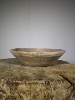 English Wooden Treen Antique Dairy Bowl