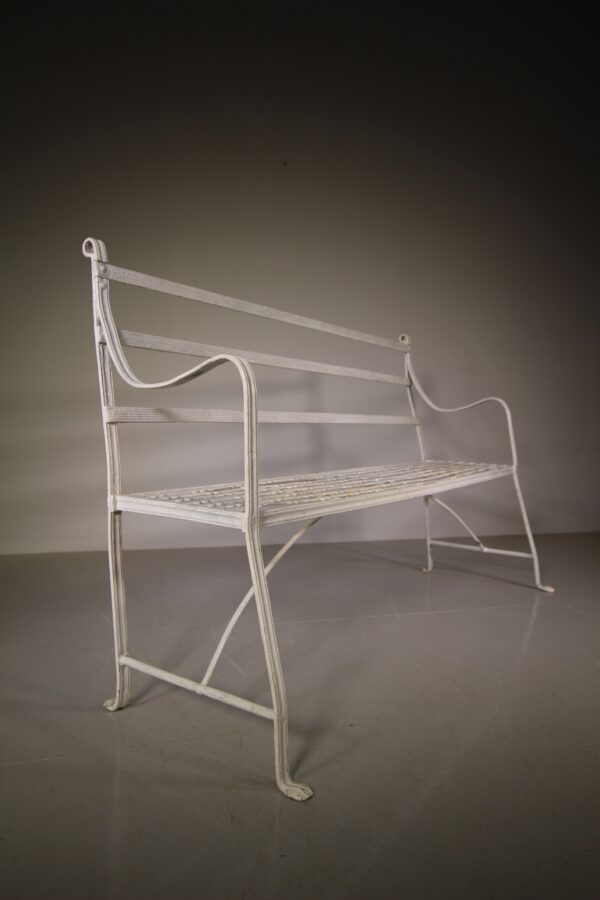 Regency English Antique Wrought Iron Garden Bench | Miles Griffiths Antiques