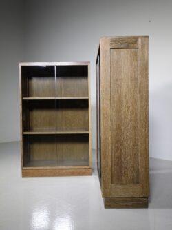Pair of 1940's Oak Glazed Bookcases